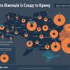 Карта беженцев с востока и Крыма. Где они осели (КАРТА)