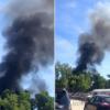 Снова пожар: на Трухановом острове в небо поднимается черный столб дыма