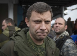 Prime Minister of the self-proclaimed Donetsk People's Republic Alexander Zakharchenko listens during his election campaign tour to the southern coastal town of Novoazovsk